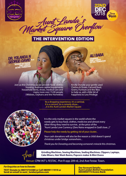 "Join Dr Yolanda N. George-David & Alibaba at Aunt Landa's Market Square tagged ""Intervention Edition"" Today, 22nd December, 2018"