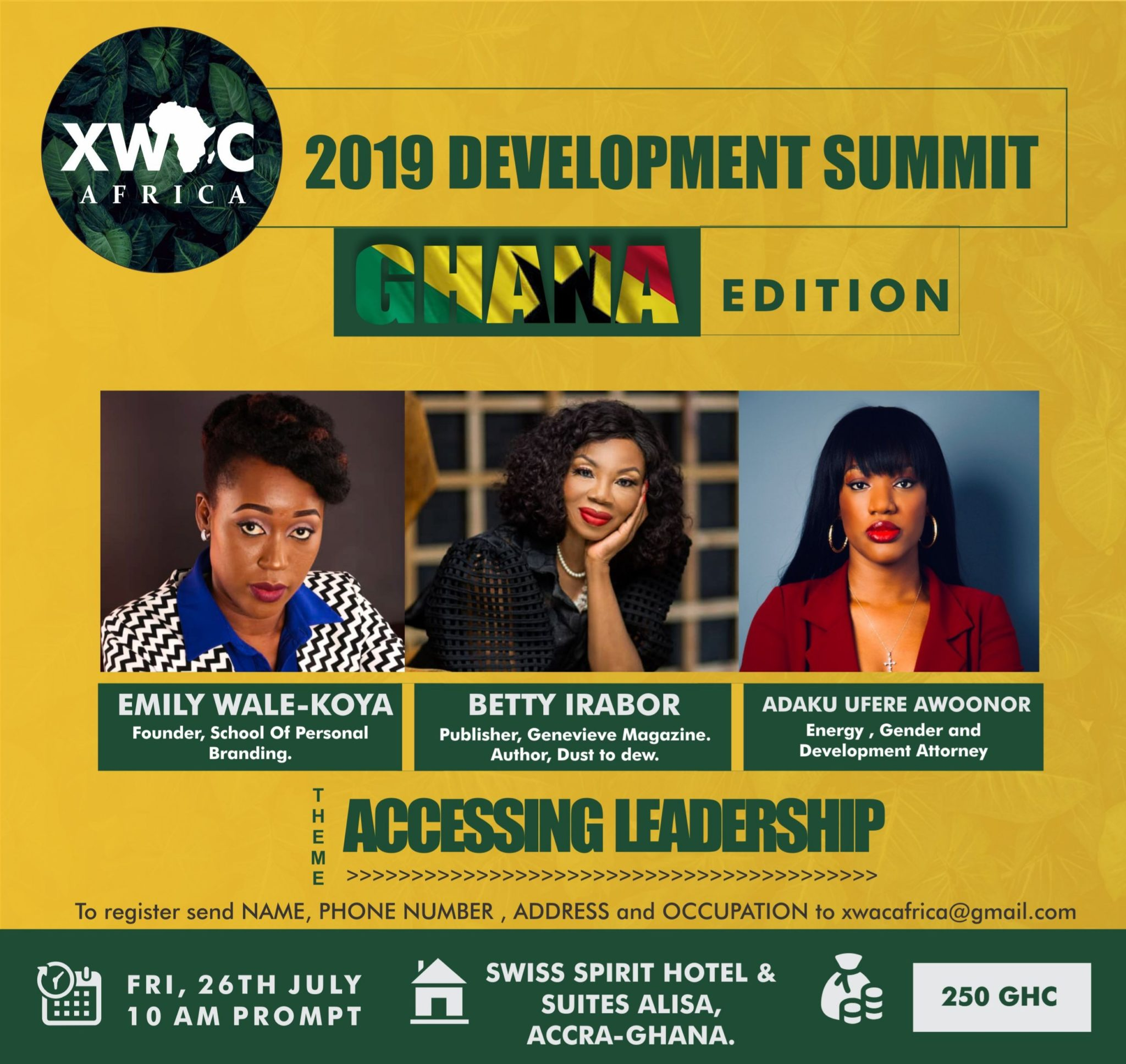 Betty Irabor, Adaku Ufere Awoonor And Emily Wale Koya set to speak at the XWAC Africa 2019 Development Summit Ghana Edition
