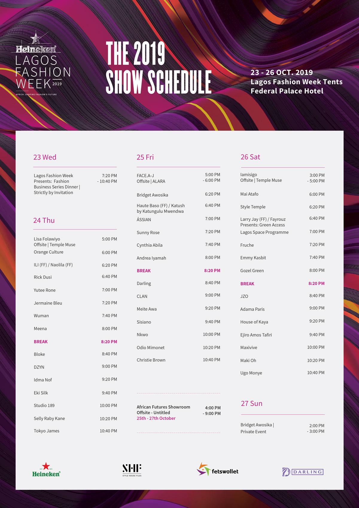 schedule of the 2019 Heineken Lagos Fashion Week