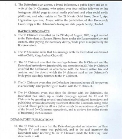 court papers of olakunle churchill and tonto dikeh
